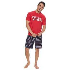 "Men's Jammies For Your Families ""Stars & Stripes"" Top & Striped Shorts Pajama Set"