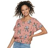 Juniors' Love, Fire Flutter Sleeve Smock Waist Top