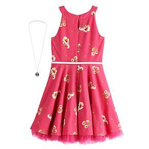 Girls 7-16 Knitworks Printed Skater Dress & Necklace Set