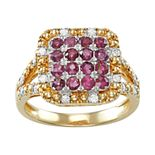 14k Gold Over Silver Ruby & 1/4 Carat T.W. Diamond Ring
