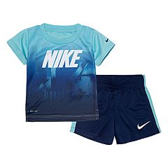 Baby Boy Nike Abstract Graphic Tee & Striped Shorts Set