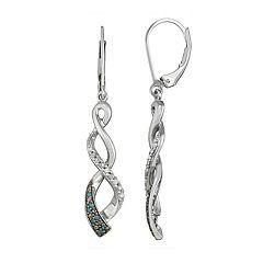 Sterling Silver 1/6 Carat T.W. White & Blue Diamond Twist Drop Earrings