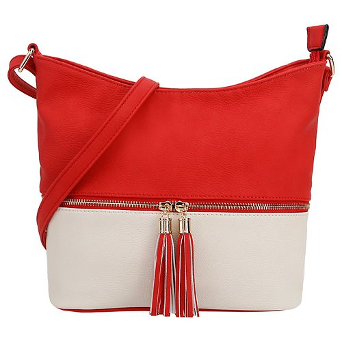 Deluxity Colorblock Tassled Crossbody Hobo Bag