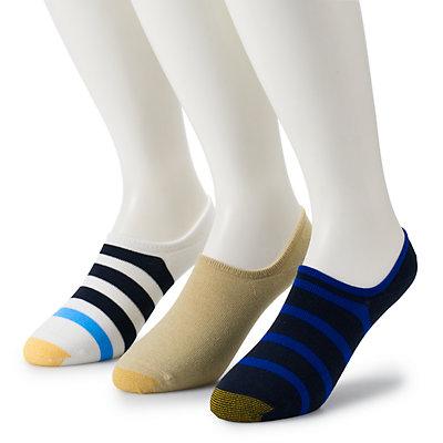Men's GOLDTOE 3-pack Sta-Cool Rugby-Striped Ultra-Low Oxford Liner Socks