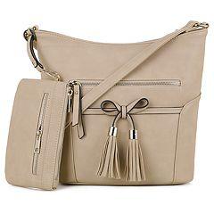 Deluxity Hobo Crossbody Bag & Matching Wristlet Set