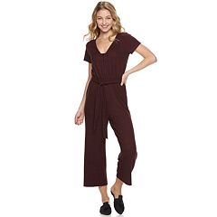 Juniors' Love, Fire Short Sleeve Belted Hacci Jumpsuit