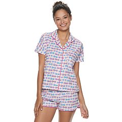 Junior's SO® Button Front Top And Shorts Pajama Set