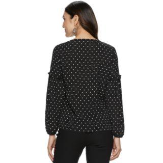 Women's ELLE? Ruffle Balloon-Sleeve Top