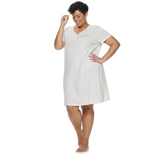 Plus Size Croft & Barrow® Henley Knit Sleepshirt