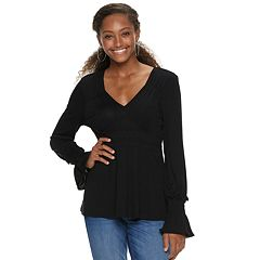Juniors' American Rag Gathered Smock Waist Top