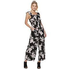 Juniors' American Rag Smocked Front Ruffled Jumpsuit