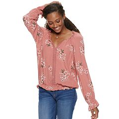 Juniors' American Rag Ruffle Neck Peasant Top