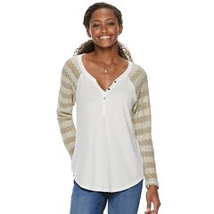Juniors' American Rag Mixed Media Henley Pullover Top