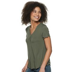 Juniors' Love, Fire Cinched Front Lettuce Edge Tee