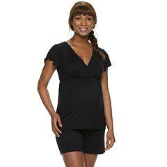 Maternity a:glow Shorts & Nursing Top Pajama Set