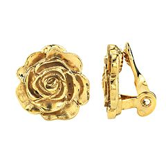 1928 Flower Motif Button Stud Clip-On Earrings