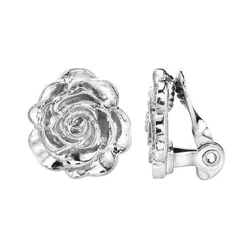 1928 Flower Motif Button Stud Clip-On Earrings