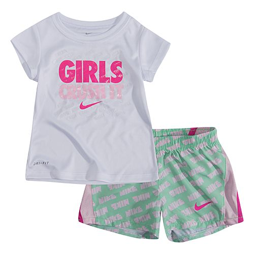 Baby Girl 2-piece Dri-FIT Graphic Tee & 10K Shorts Set