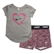 Baby Girl Nike 2-piece Dri-FIT Heart Top & Shorts Set