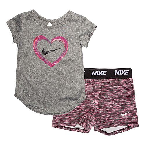 b6c5aa4e1d4 Baby Girl Nike 2-piece Dri-FIT Heart Top & Shorts Set
