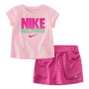 "Baby Girl Nike 2-piece ""Girl Power"" & Skort Skirt Set"