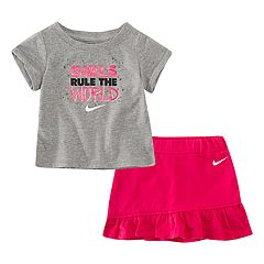 Baby Girl Nike 2-piece 'Girls Rule The World' Tee & Skort Set