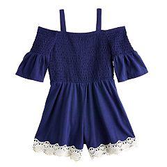 c1debbf0dbb723 Girls 7-16 My Michelle Smocked Cold-Shoulder Lace Trim Romper