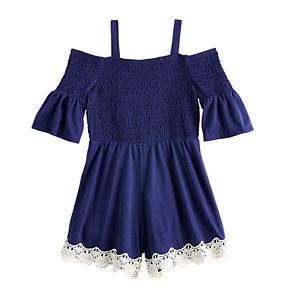 Girls 7-16 My Michelle Smocked Cold-Shoulder Lace Trim Romper
