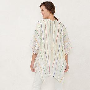 Women's LC Lauren Conrad Metallic Striped Ruana