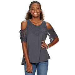 Juniors' Rewind Lace Cold-Shoulder Top