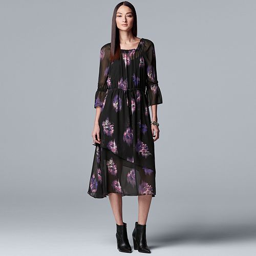 Women's Simply Vera Vera Wang Floral Chiffon Layered Peasant Dress