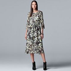 Women's Simply Vera Vera Wang Floral Chiffon Layered Peasant Dress