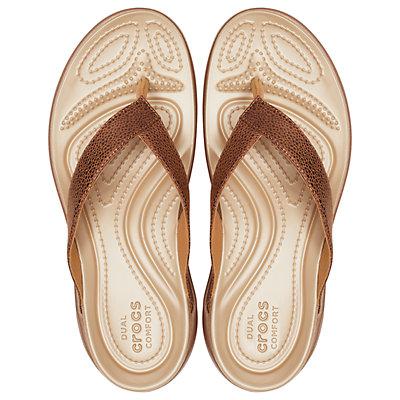 Crocs Capri Metallic Texture Women's Wedge Flip Flop Sandals