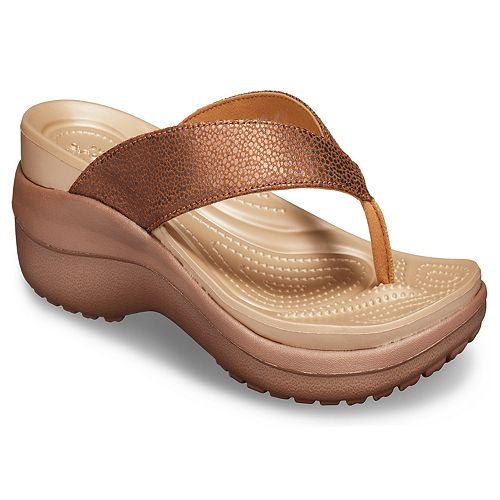 Crocs Capri Metallic Texture Women's Wedge Flip Flop Sandals