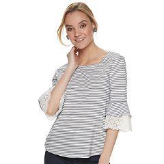Women's ELLE™ Striped Lace-Trim Tee