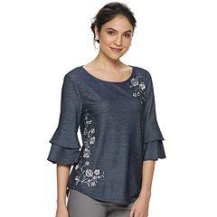 Women's ELLE™ Bell Sleeve Embroidered Denim Top