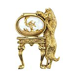 1928 Jewelry Gold Tone Cat & Fish Bowl Motif Pin