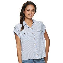 f4d1b5a79853fd Juniors SO Button-Down Shirts Tops
