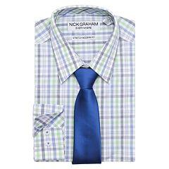 Men's Nick Graham Everywhere Modern-Fit Stretch Dress Shirt & Tie Set
