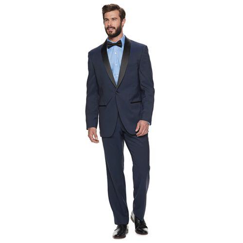 Men's Steve Harvey Maybach Solid Blue Geo Besom-Pocket Tuxedo Jacket