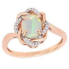 deba6e8b4 Stella Grace 10k Rose Gold 1/10 Carat T.W. Diamond & Ethiopian Opal Love  Knot