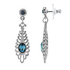 1928 Jewelry Silver Tone Blue Filigree Drop Earrings