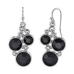 1928 Jewelry Silver Tone Black and Crystal Chanel Cluster Drop Earrings