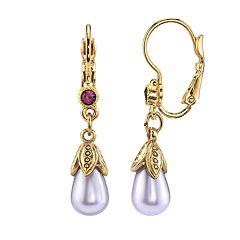 1928 Jewelry Gold Tone Amethyst Color Teardrop Earrings