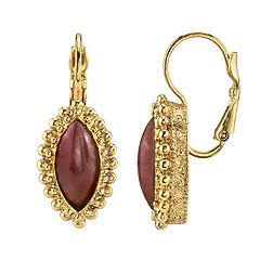 1928 Jewelry Gold Tone Diamond Shape Amethyst Color Leverback Earrings