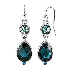 1928 Jewelry Silver Tone Light Sapphire Blue Teardrop Earrings