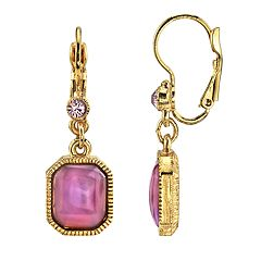1928 Jewelry Gold Tone Square Amethyst Color Drop Earrings