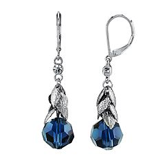 1928 Jewelry Silver Tone Blue Beaded Leaf Motif Drop Earrings