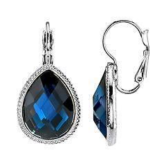 1928 Jewelry Silver Tone Blue Faceted Crystal Teardrop Earrings