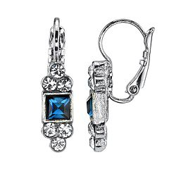 1928 Jewelry Silver Tone Blue Square with Clear Crystal Accent Drop Earrings